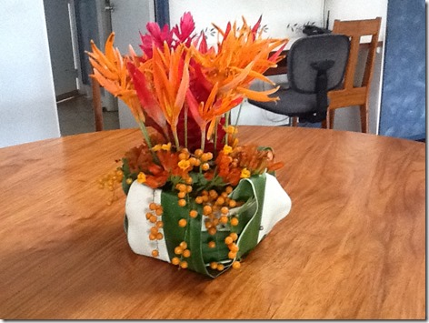 Carol from Papua New Guinea, flower arrangement and vase