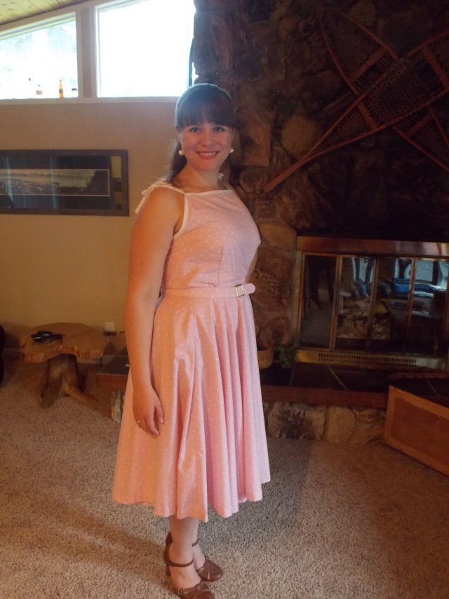Pink Polka Dot Vintage Style Dress